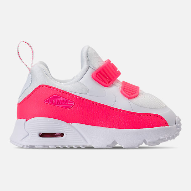 Right view of Girls' Toddler Nike Air Max Tiny 90 SE Running Shoes in White/Racer Pink/Rush Pink