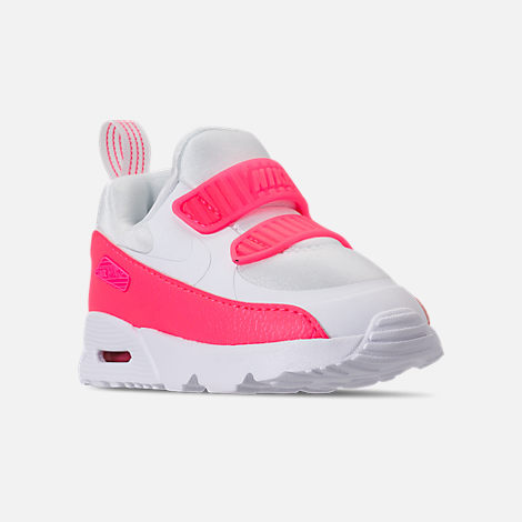 Three Quarter view of Girls' Toddler Nike Air Max Tiny 90 SE Running Shoes in White/Racer Pink/Rush Pink