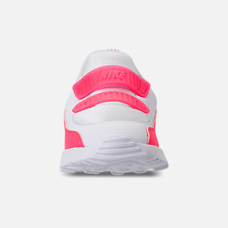 Front view of Girls' Toddler Nike Air Max Tiny 90 SE Running Shoes in White/Racer Pink/Rush Pink