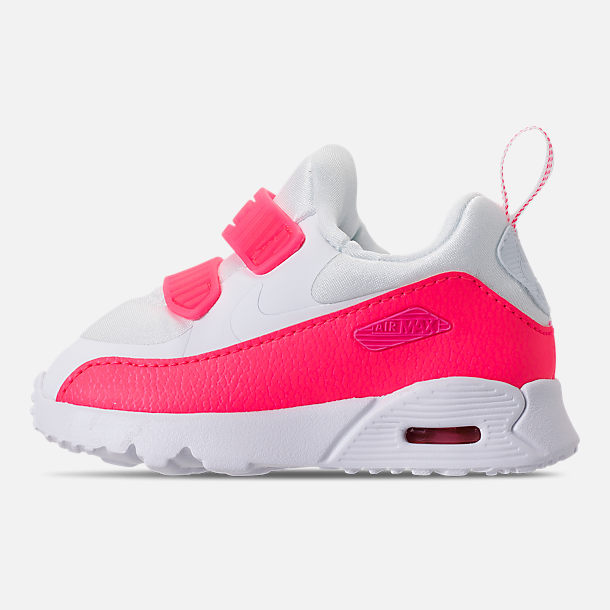 Left view of Girls' Toddler Nike Air Max Tiny 90 SE Running Shoes in White/Racer Pink/Rush Pink