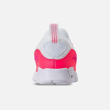 Back view of Girls' Toddler Nike Air Max Tiny 90 SE Running Shoes in White/Racer Pink/Rush Pink