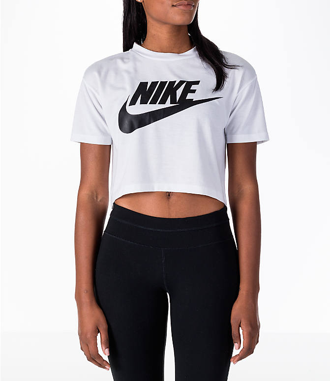 Front view of Women's Nike Sportswear Essential Crop T-Shirt in White/Black