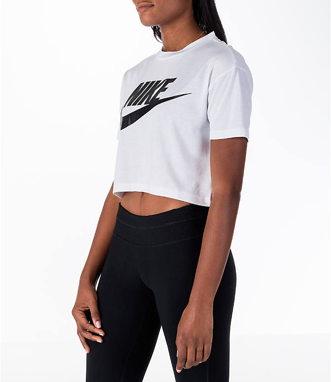 Front Three Quarter view of Women's Nike Sportswear Essential Crop T-Shirt in White/Black