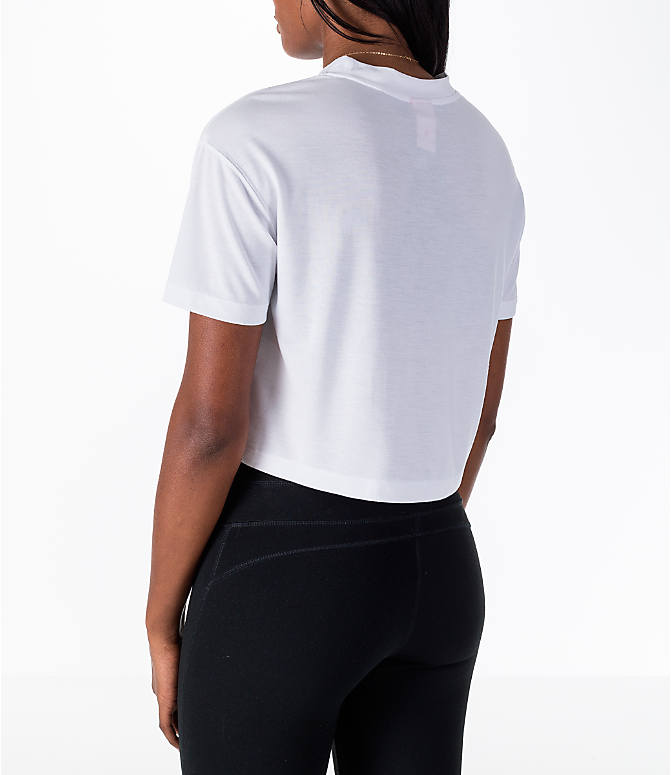 Back Left view of Women's Nike Sportswear Essential Crop T-Shirt in White/Black