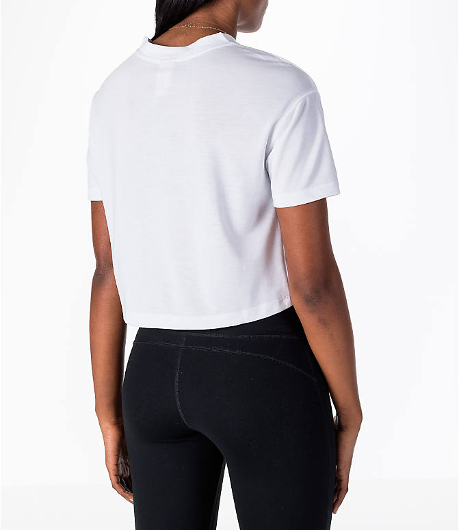 Back Right view of Women's Nike Sportswear Essential Crop T-Shirt in White/Black