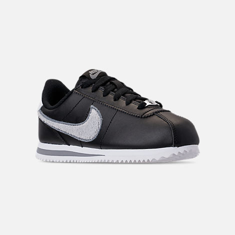 Three Quarter view of Boys' Big Kids' Nike Cortez Basic Leather SE Casual Shoes in Black/White/Cool Grey