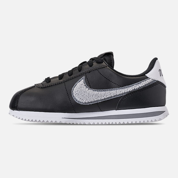 Left view of Boys' Big Kids' Nike Cortez Basic Leather SE Casual Shoes in Black/White/Cool Grey
