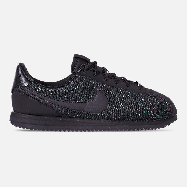 Right view of Girls' Big Kids' Nike Cortez Basic Textile SE Casual Shoes in Black/Black