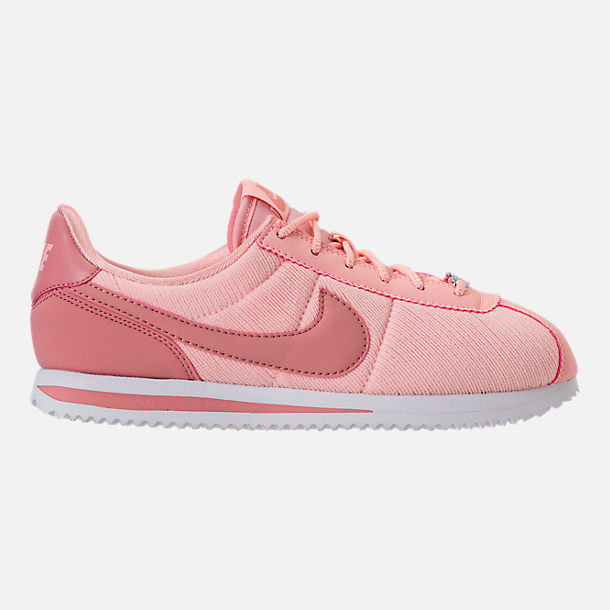 Right view of Girls' Big Kids' Nike Cortez Basic Textile SE Casual Shoes in Storm Pink/Rust Pink/White