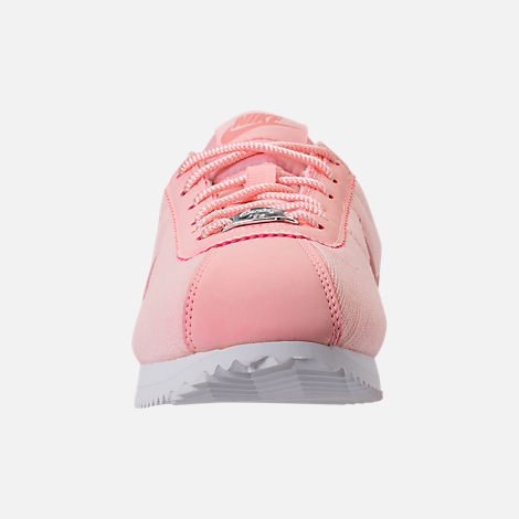 Front view of Girls' Big Kids' Nike Cortez Basic Textile SE Casual Shoes in Storm Pink/Rust Pink/White