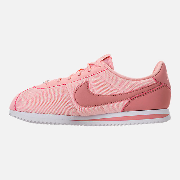 Left view of Girls' Big Kids' Nike Cortez Basic Textile SE Casual Shoes in Storm Pink/Rust Pink/White