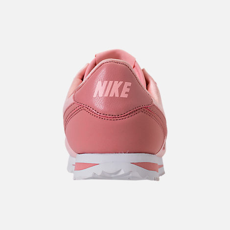 Back view of Girls' Big Kids' Nike Cortez Basic Textile SE Casual Shoes in Storm Pink/Rust Pink/White