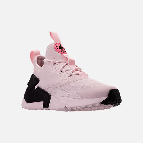 Three Quarter view of Girls' Preschool Nike Huarache Drift Casual Shoes in Barely Rose/Coral Chalk/White