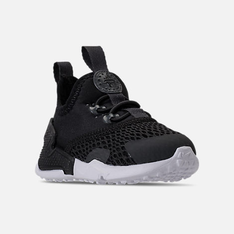 Three Quarter view of Boys' Toddler Nike Huarache Drift Casual Shoes in Black/Anthracite/White
