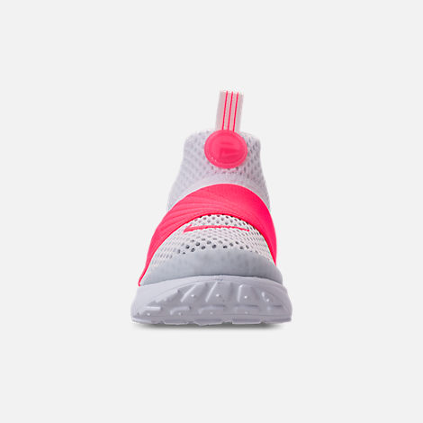 Front view of Girls' Toddler Nike Presto Extreme SE Running Shoes in White/Racer Pink/Rush Pink