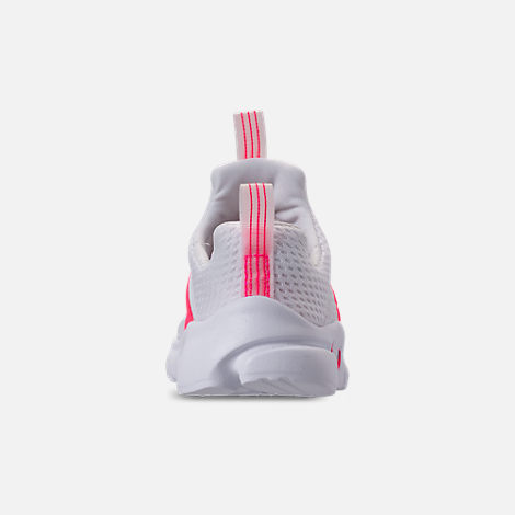 Back view of Girls' Toddler Nike Presto Extreme SE Running Shoes in White/Racer Pink/Rush Pink