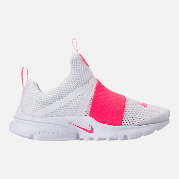 Right view of Girls' Little Kids' Nike Presto Extreme SE Running Shoes in White/Racer Pink/Rush Pink