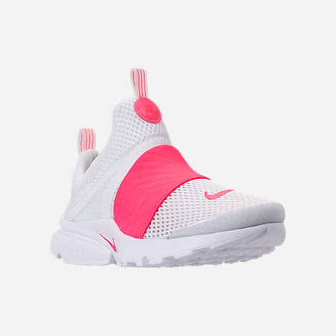 Three Quarter view of Girls' Little Kids' Nike Presto Extreme SE Running Shoes in White/Racer Pink/Rush Pink