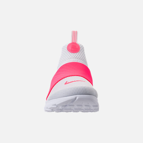 Front view of Girls' Little Kids' Nike Presto Extreme SE Running Shoes in White/Racer Pink/Rush Pink