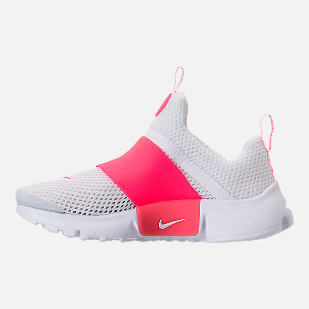 Left view of Girls' Little Kids' Nike Presto Extreme SE Running Shoes in White/Racer Pink/Rush Pink