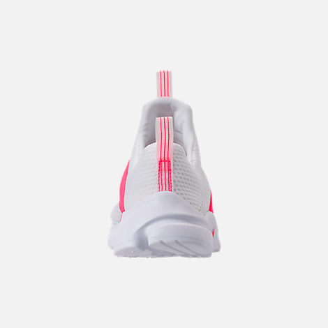 Back view of Girls' Little Kids' Nike Presto Extreme SE Running Shoes in White/Racer Pink/Rush Pink