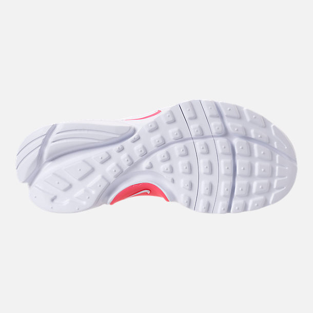 Bottom view of Girls' Little Kids' Nike Presto Extreme SE Running Shoes in White/Racer Pink/Rush Pink
