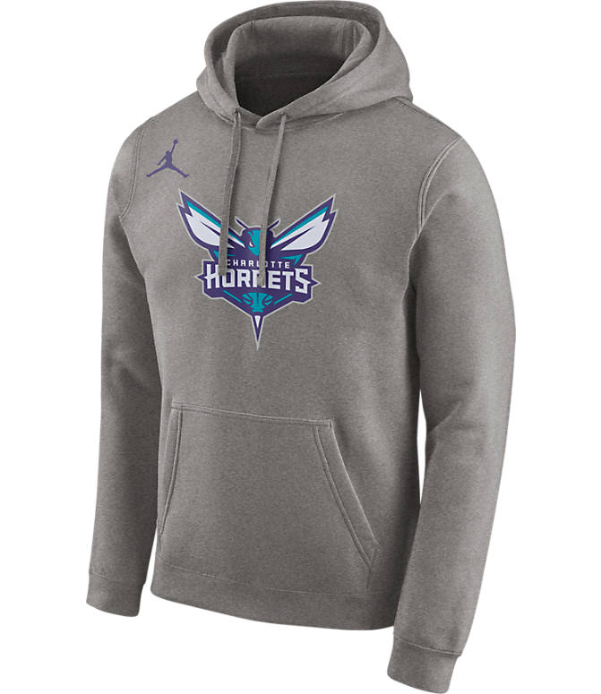 Front view of Men's Nike Charlotte Hornets NBA City Edition Logo Essential Hoodie in Dark Grey Heather