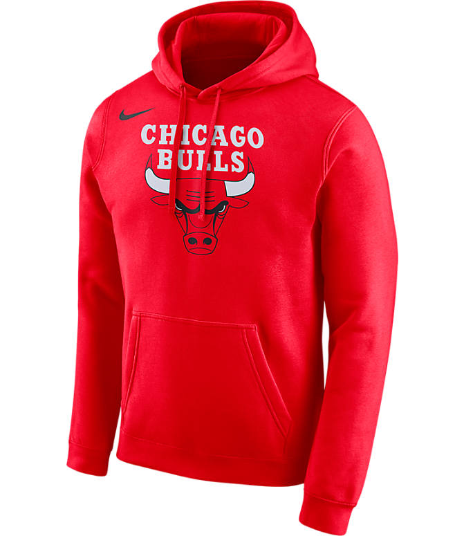 Front view of Men's Nike Chicago Bulls NBA City Edition Logo Essential Hoodie in University Red