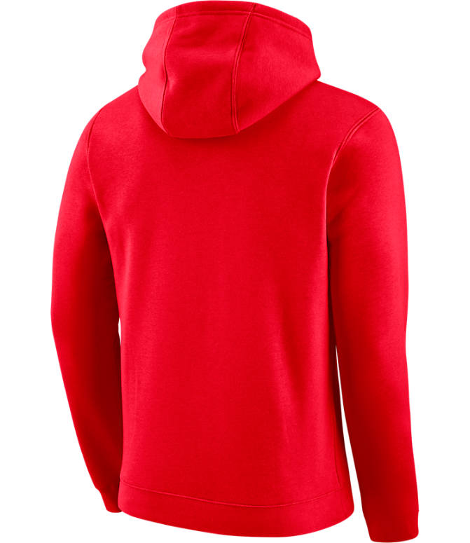 Back view of Men's Nike Chicago Bulls NBA City Edition Logo Essential Hoodie in University Red