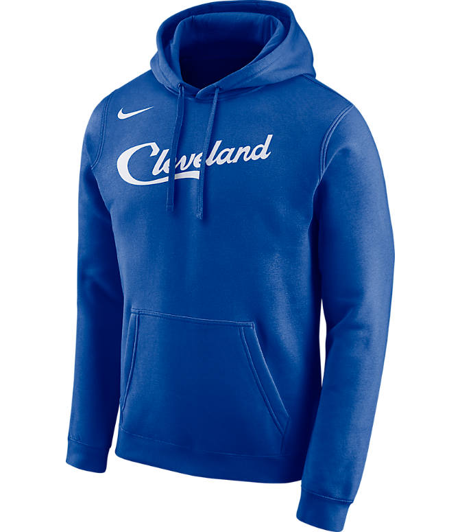 Front view of Men's Nike Cleveland Cavaliers NBA City Edition Logo Essential Hoodie in Rush Blue