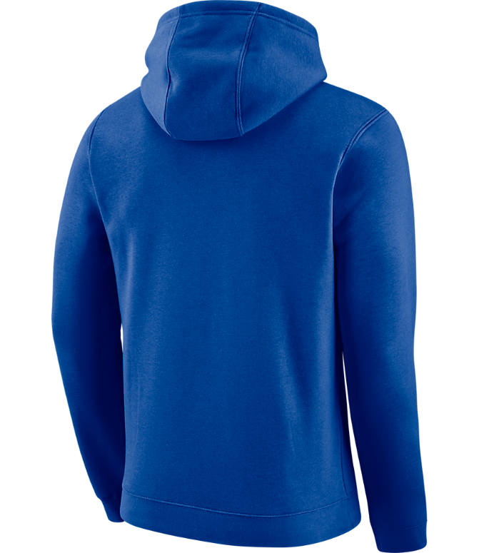 Back view of Men's Nike Cleveland Cavaliers NBA City Edition Logo Essential Hoodie in Rush Blue