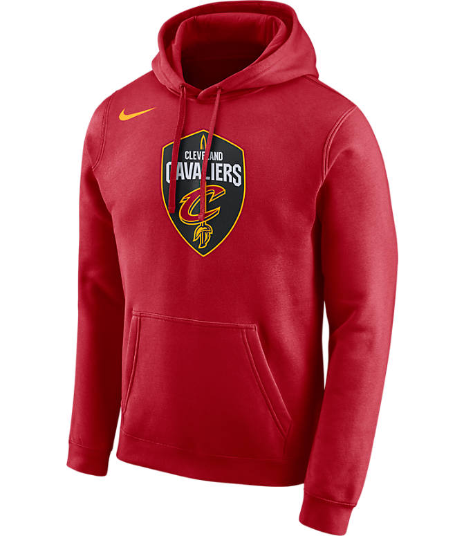 Front view of Men's Nike Cleveland Cavaliers NBA City Edition Logo Essential Hoodie in Team Red