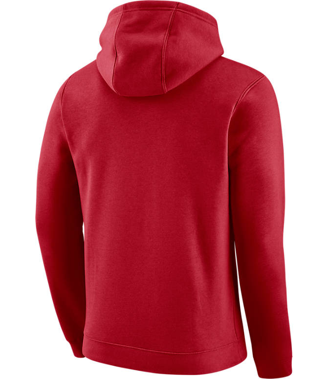 Back view of Men's Nike Cleveland Cavaliers NBA City Edition Logo Essential Hoodie in Team Red
