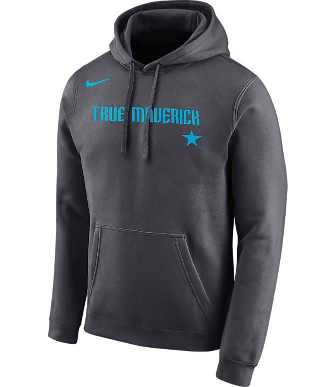 Front view of Men's Nike Dallas Mavericks NBA City Edition Logo Essential Hoodie in Anthracite