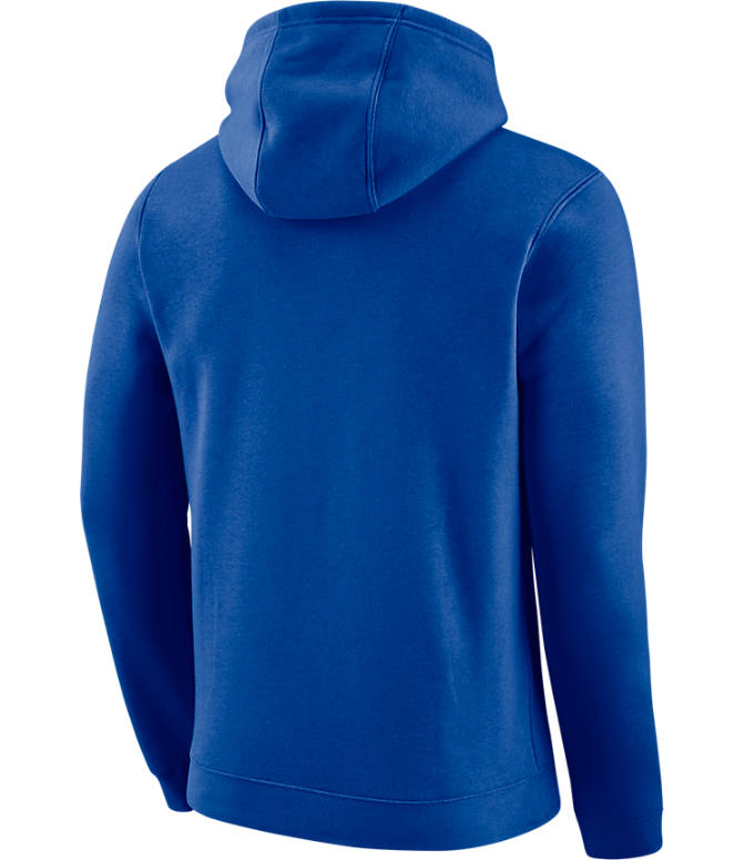 Back view of Men's Nike Detroit Pistons NBA City Edition Logo Essential Hoodie in Rush Blue