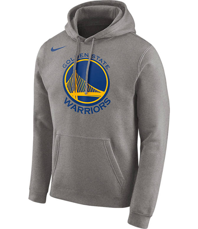 Front view of Men's Nike Golden State Warriors NBA City Edition Logo Essential Hoodie in Dark Grey Heather