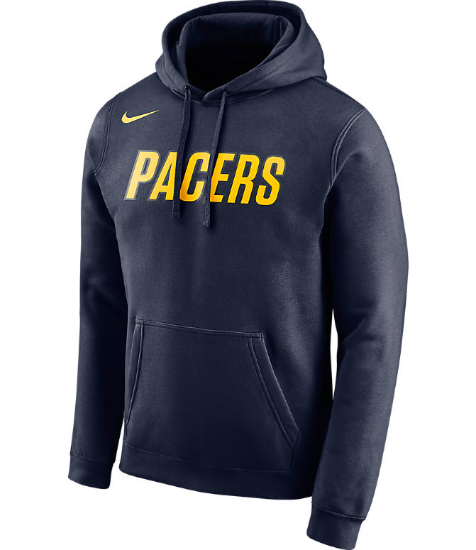Front view of Men's Nike Indiana Pacers NBA City Edition Logo Essential Hoodie in Navy