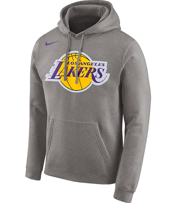 Front view of Men's Nike Los Angeles Lakers NBA City Edition Logo Essential Hoodie in Dark Grey Heather