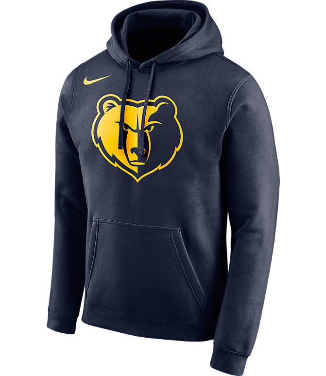 Front view of Men's Nike Memphis Grizzlies NBA City Edition Logo Essential Hoodie in Navy