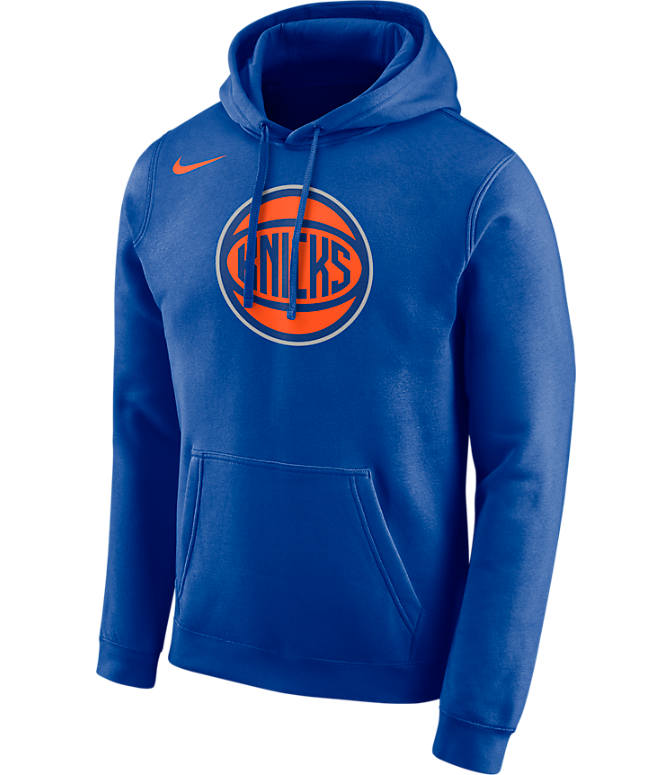 Front view of Men's Nike New York Knicks NBA City Edition Logo Essential Hoodie in Rush Blue