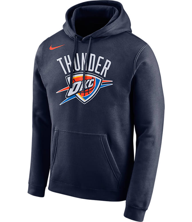 Front view of Men's Nike Oklahoma City Thunder NBA City Edition Logo Essential Hoodie in College Navy