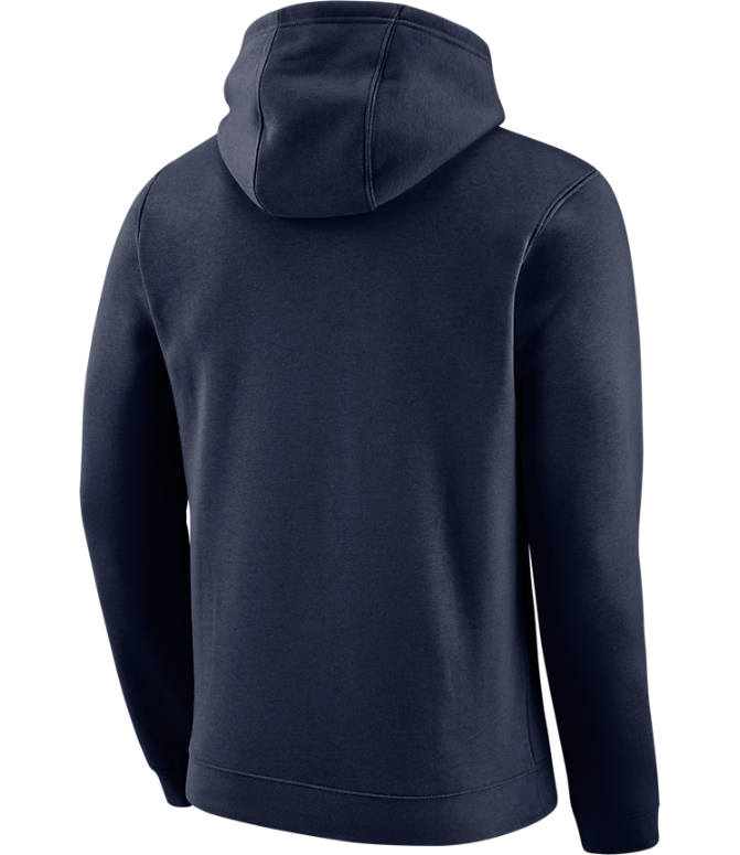 Back view of Men's Nike Oklahoma City Thunder NBA City Edition Logo Essential Hoodie in College Navy