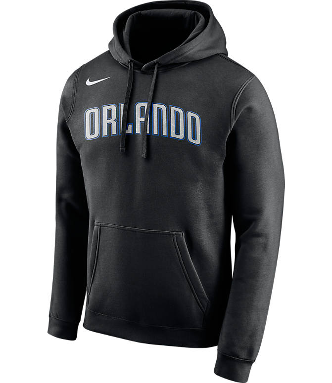 Front view of Men's Nike Orlando Magic NBA City Edition Logo Essential Hoodie in Black