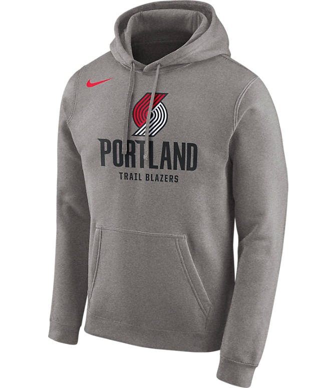 Front view of Men's Nike Portland Trail Blazers NBA City Edition Logo Essential Hoodie in Dark Grey Heather