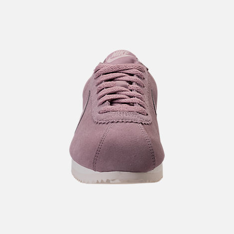 Front view of Women's Nike Classic Cortez Suede Casual Shoes in Elemental Rose/Sail