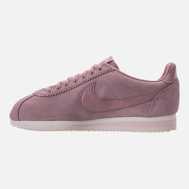 Left view of Women's Nike Classic Cortez Suede Casual Shoes in Elemental Rose/Sail