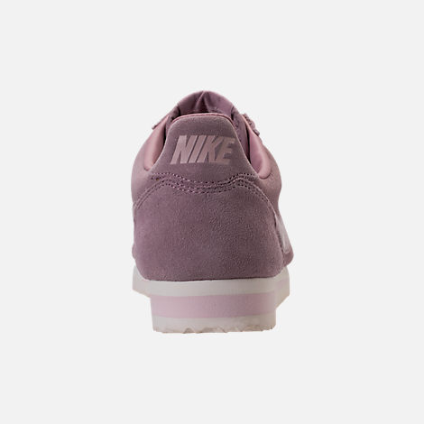 Back view of Women's Nike Classic Cortez Suede Casual Shoes in Elemental Rose/Sail