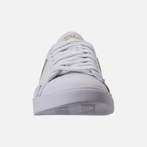 Front view of Women's Nike Blazer Low LE Casual Shoes in White/Metallic Gold Star/White