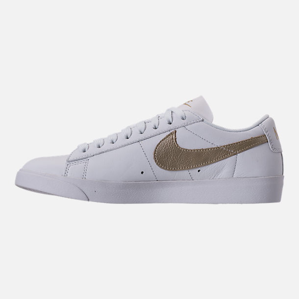 Left view of Women's Nike Blazer Low LE Casual Shoes in White/Metallic Gold Star/White