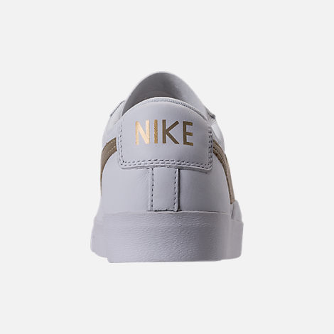 Back view of Women's Nike Blazer Low LE Casual Shoes in White/Metallic Gold Star/White